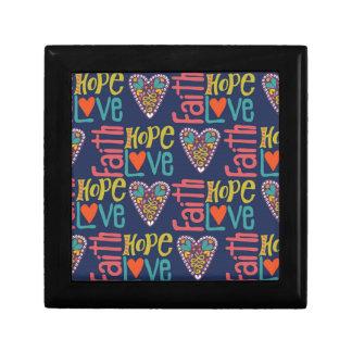 Faith Hope and Love Word Art Jewelry Box