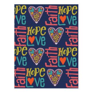 Faith Hope and Love Word Art Postcard