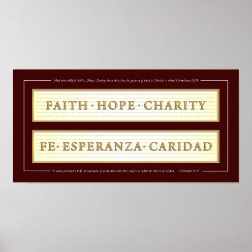 Faith, Hope, Charity in Spanish Print