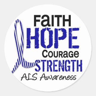 FAITH HOPE COURAGE ALS CLASSIC ROUND STICKER