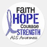 FAITH HOPE COURAGE ALS ROUND STICKER