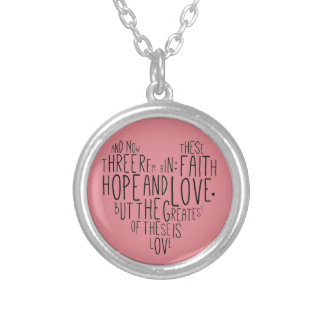 Faith Hope Love 1 Corinthians 13:13 Silver Plated Necklace