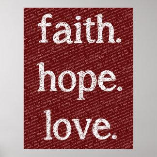 Faith Hope Love 1 Corinthians 13:4-7 Bible Quote Poster