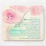 faith hope love 1 Corinthians 13 ranunculus flower Mousepad