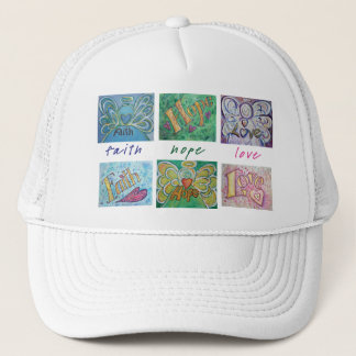 Faith Hope Love Angel Word Collage Hat or Cap