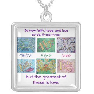 Faith Hope Love Angel Word Collage Jewelry Pendant