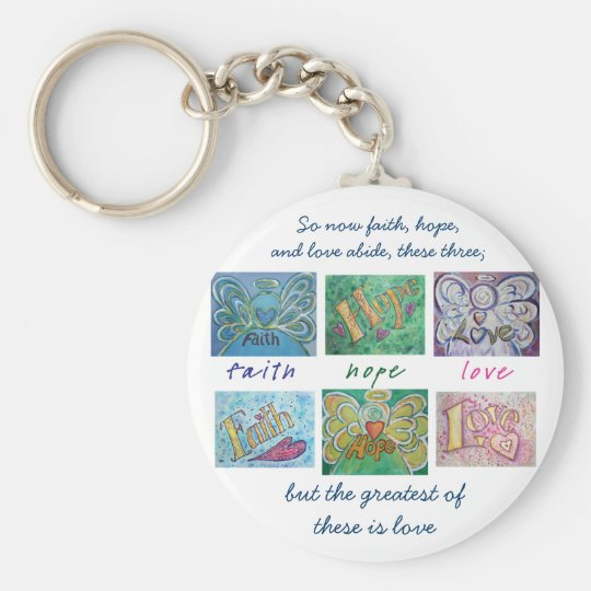 Faith Hope Love Angel Word Collage Keychain