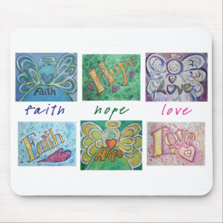 Faith Hope Love Angel Word Collage Mousepad