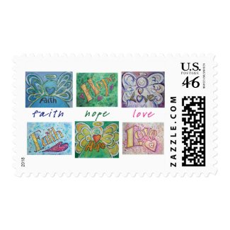 Faith Hope Love Angel Word Collage Postage Stamps stamp