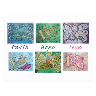 Faith Hope Love Angel Word Collage Postcard