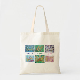 Faith Hope Love Angel Word Collage Tote Bag