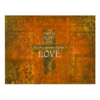 Faith Hope Love Bible Verse Postcard
