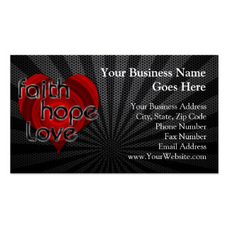 Faith Hope Love Black/Red Heart Business Cards