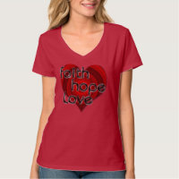 Faith Hope Love Black/Red Heart Christian Shirt, T-Shirt