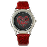 Faith Hope Love, Black/Red Heart Wristwatch