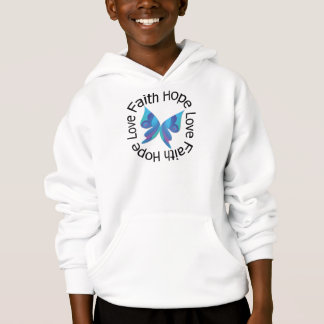 Faith Hope Love Blue Butterfly Hoodie