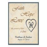Faith Hope Love Blue Heart Wedding Invitation