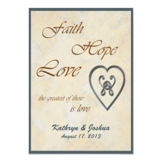 Faith Hope Love Blue Heart Wedding Invitation