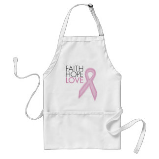 Faith, Hope, Love - Breast Cancer Support Adult Apron