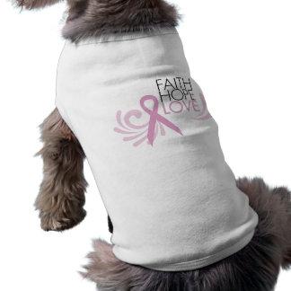Faith Hope Love - Breast Cancer Support Doggie Tshirt