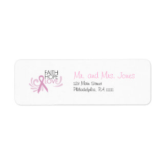 Faith, Hope, Love - Breast Cancer Support Label