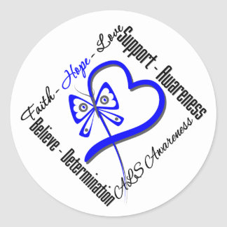 Faith Hope Love Butterfly - ALS Awareness Classic Round Sticker