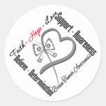Faith Hope Love Butterfly - Brain Tumor Round Sticker