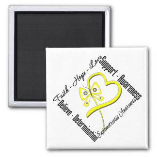 Faith Hope Love Butterfly Endometriosis Awareness 2 Inch Square Magnet