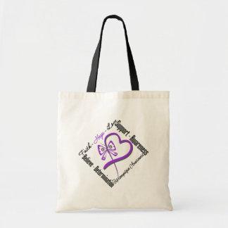 Faith Hope Love Butterfly - Fibromyalgia Awareness Tote Bag