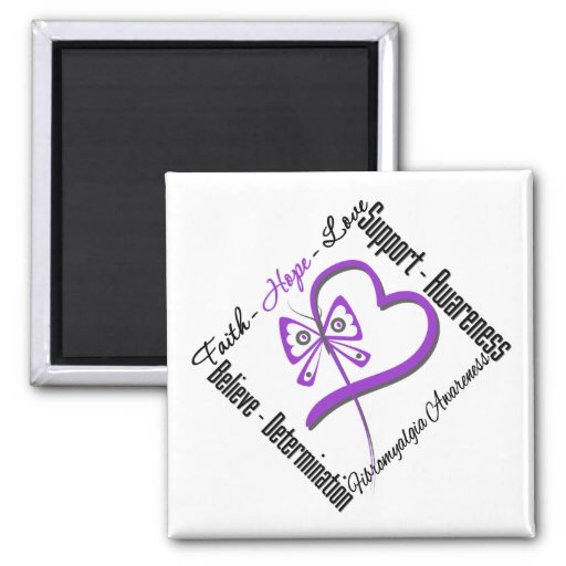 Faith Hope Love Butterfly - Fibromyalgia Awareness Refrigerator Magnets