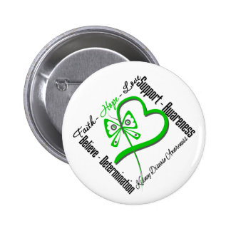 Faith Hope Love Butterfly - Kidney Disease 2 Inch Round Button