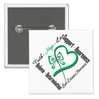 Faith Hope Love Butterfly - Liver Disease 2 Inch Square Button