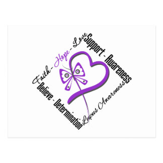 Faith Hope Love Butterfly - Lupus Awareness Postcard