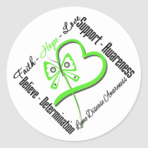 Faith Hope Love Butterfly - Lyme Disease Classic Round Sticker