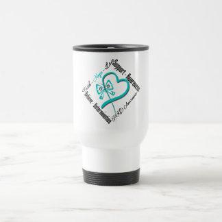 Faith Hope Love Butterfly - PKD Awareness 15 Oz Stainless Steel Travel Mug