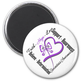 Faith Hope Love Butterfly - Sarcoidosis Awareness 2 Inch Round Magnet
