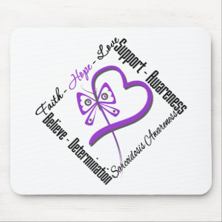 Faith Hope Love Butterfly - Sarcoidosis Awareness Mouse Pad