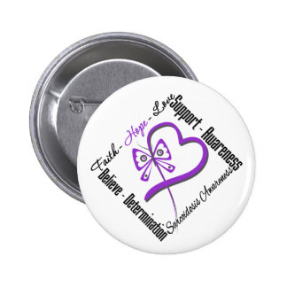 Faith Hope Love Butterfly - Sarcoidosis Awareness Pinback Button