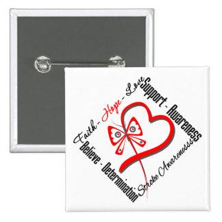 Faith Hope Love Butterfly - Stroke Awareness Button