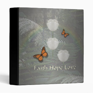 Faith Hope Love ~ Butterfly Tulips 3 Ring Binder