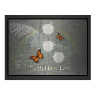 Faith Hope Love ~ Butterfly Tulips Postcard