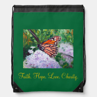 """Faith. Hope. Love. Charity.""  Backpack"
