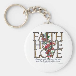 Faith Hope Love Christian Bible Verse Basic Round Button Keychain