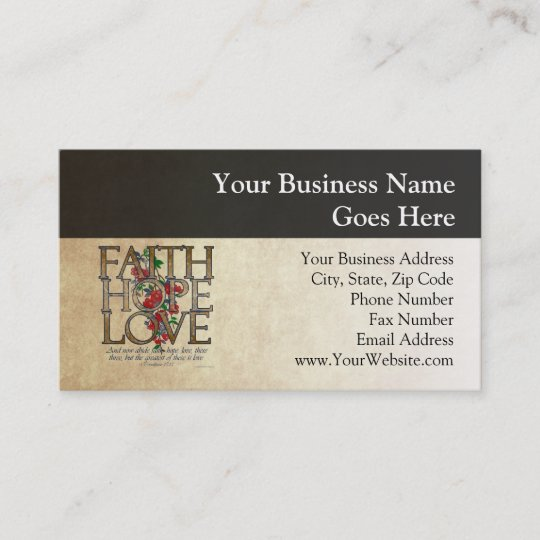 Faith Hope Love Verse Business Card