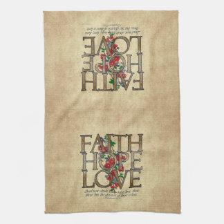 Faith Hope Love Christian Bible Verse Towels