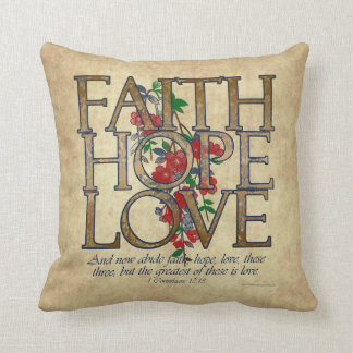 Faith Hope Love Christian Bible Verse Pillow