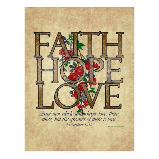 Faith Hope Love Christian Bible Verse Postcard