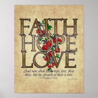 Faith Hope Love Christian Bible Verse Posters