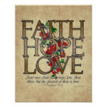 Faith Hope Love Christian Bible Verse Posters