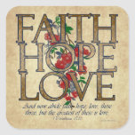 Faith Hope Love Christian Bible Verse Square Sticker